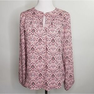 Loft Pink and Red Peasant Popover Knit Blouse